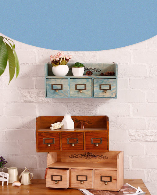 zakka home decor wooden furniture cabinet wood wall shelves home decor wooden furniture 1PC Zakka 3 Drawer Cabinets Home Furnishing Wall Hanging Shelf Home  Decoration Jewelry Cosmetic Storage Box NM 003