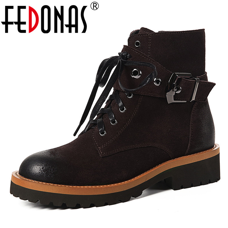 FEDONAS Top Quality Women Ankle Boots Round Toe Buckles Short Martin Shoes Woman High Heels Motorcycle Boots Ladies Zipper Shoes цена 2017