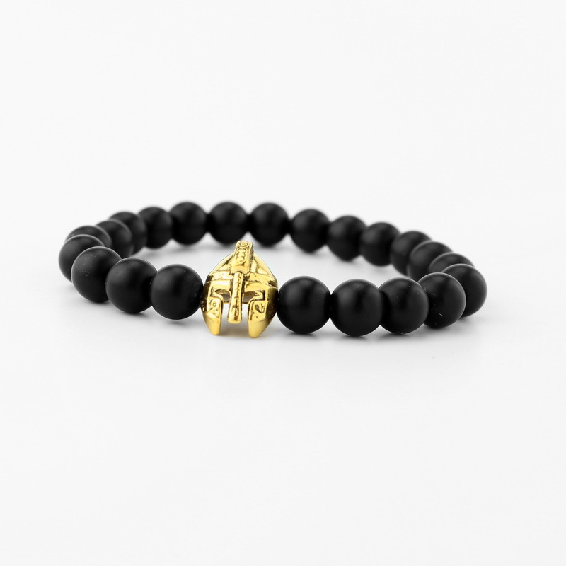 Xueka 2017 New Antique Gold Silver Color Roman Knight Spartan Warrior Helmet Bracelet with Energy Lava Stone Beads Mens gifts