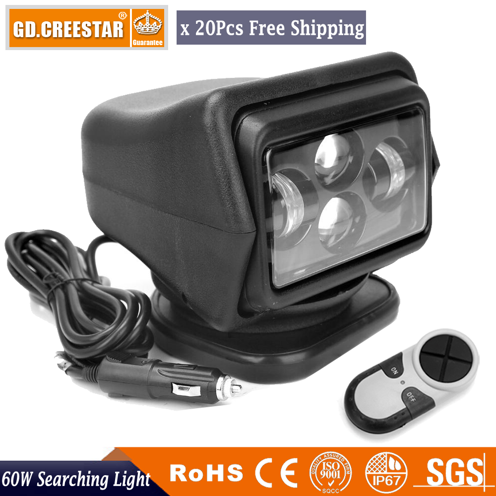 GDCREESTAR 60w led moving headlight 12V 24V Led Marine Boating Searching light LED Wireless Remoter control lights Wholesale x20 information searching and retrieval