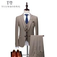 Бренд Для мужчин s пиджак цвета хаки Формальные Бизнес Блейзер Для мужчин Жених 3 предмета Slim Fit Одежда для вечеринки одной кнопки свадебное