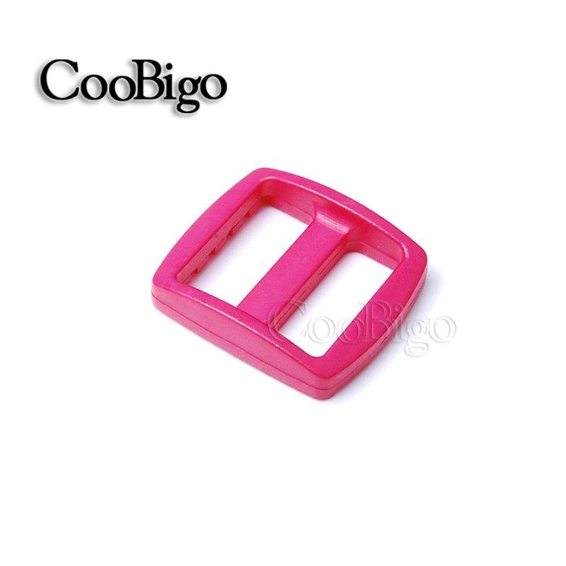 """10 шт Упаковка многоцветные пластиковые изогнутые Tri Glide 3/""""(20 мм) слайдер лямки регулировать пряжки широкий стиль походный рюкзак ремни - Цвет: Pink"""