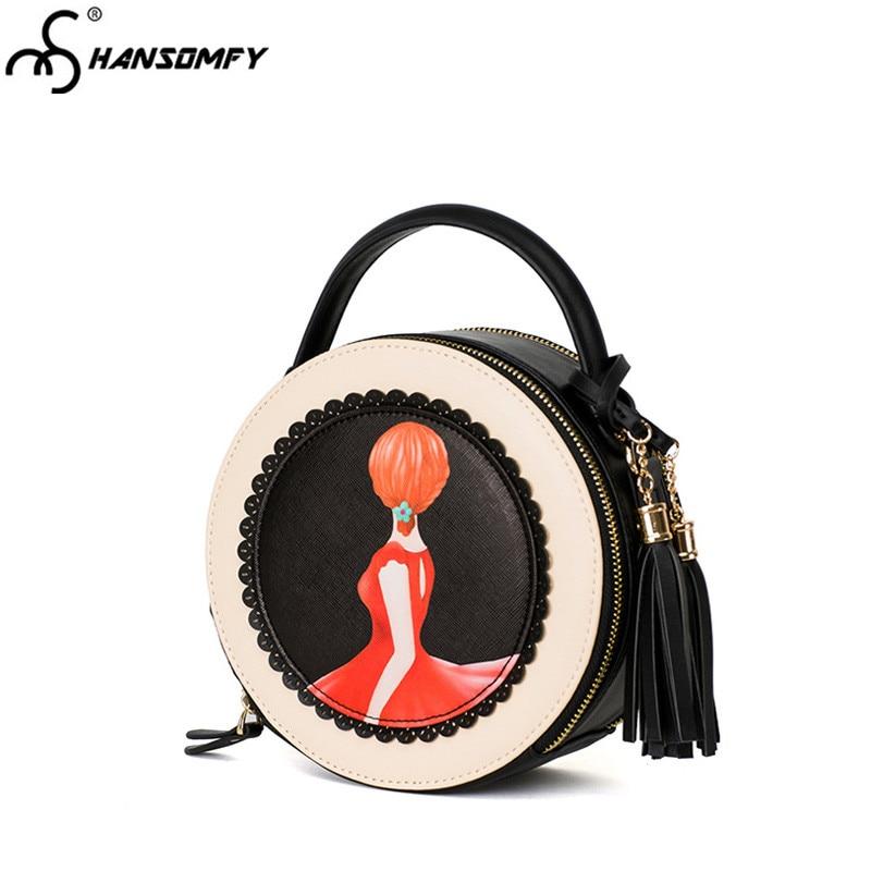 2018 saco novo maré feminino rodada pintado dos desenhos animados das mulheres saco de borla mini sacos saco Do Mensageiro Do ombro moda pequeno preto rodada sacos