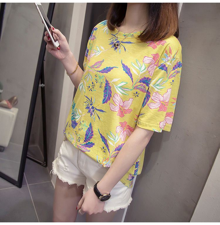 Nkandby Flower Print Summer T-shirt For Woman Fashion Casual Short sleeve Ladies Tshirt 2019 New Bamboo Plus size Basic Tops 4XL 23