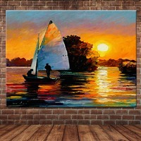 Hand Painted Abstract Palette Knife Sunset Oil Painting On Canvas Sailboat Wall Picture Living Room Hotel Room Home Wall Decor