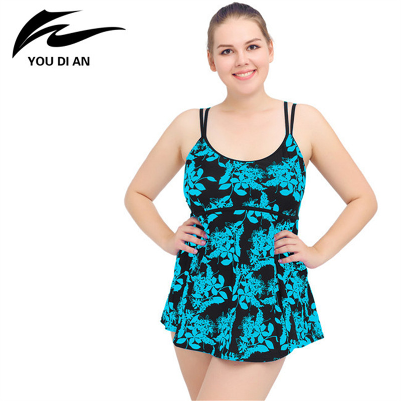 2018 New Arrival Plus Size Swimwear Women Sexy Two Pieces Swimsuit Swimming Suit Floral Beach Dress Tankini Bathing Suit new summer swim dress swimsuit big cup sexy women swimwear plus size tankinis set beach dress female large size swimsuit floral