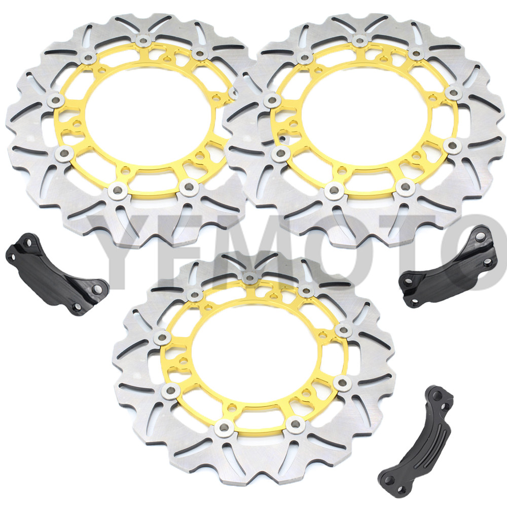 1 Set  Motorcycle Front & Rear Brake Disc Rotor For TMAX500 TMAX 500 2008- 2013 09 10 11 12  Yellow Steel Hot Sales 1 pcs motorcycle rear brake disc rotor for tmax500 tmax 500 2008 2009 2010 2011 2012 2013 red free shipping