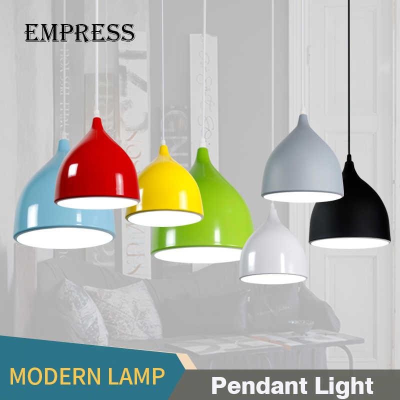 Современные подвесные светильники Nordic подвесной светильник красочные E27 Кухня подвесной светильник столовая лампа ресторан Освещение в помещении