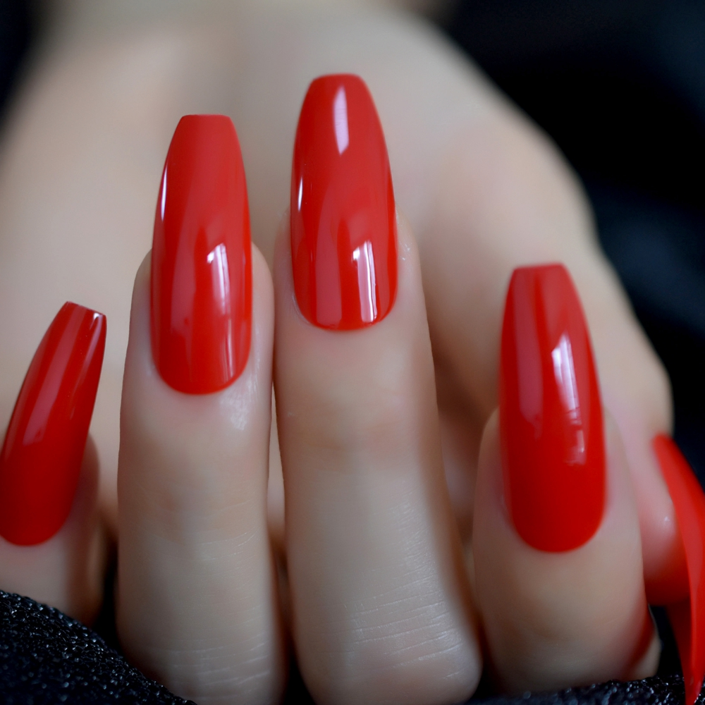 Chinese Red Long Coffin Nails Sexy Glossy Extreme Press On Fake Nails Gorgeous Manicure Fingernail Tips With Gluetabs