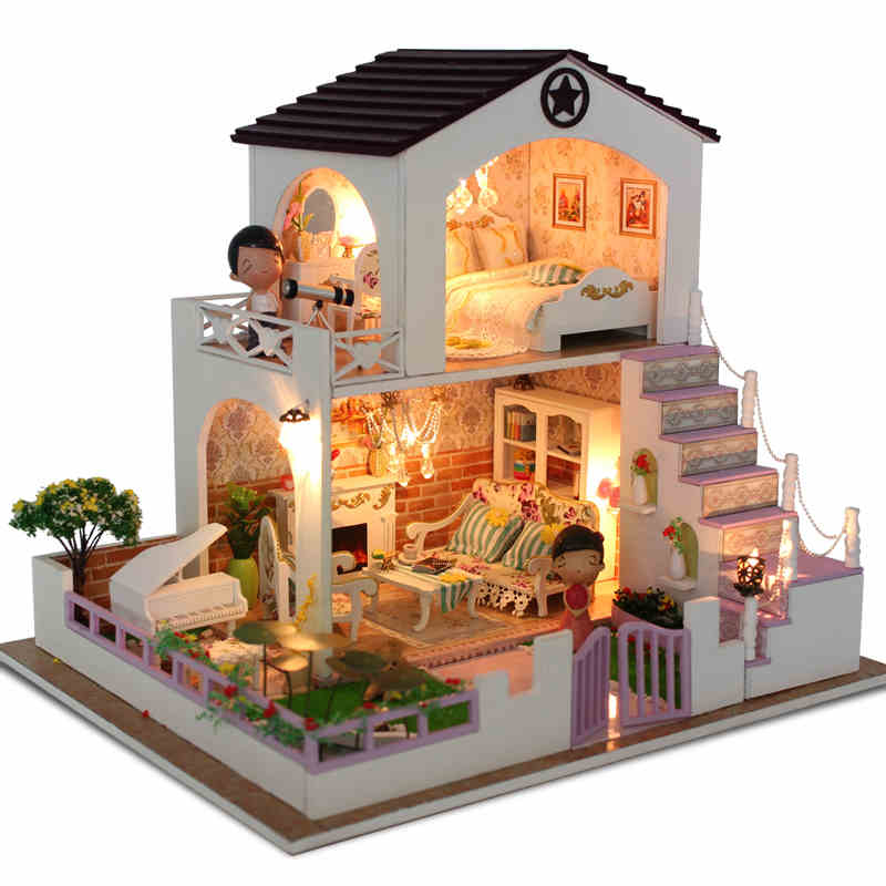ФОТО Diy Doll House Wooden Dollhouses Villa Model Include Furniture Led Miniature 3D Puzzle  Dollhouse Creative Birthday Gifts Toys