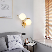 hot deal buy wall lamps european bedroom bedside lamp hall wall lamp hotel simple american lamp indoor led double head wall lighting
