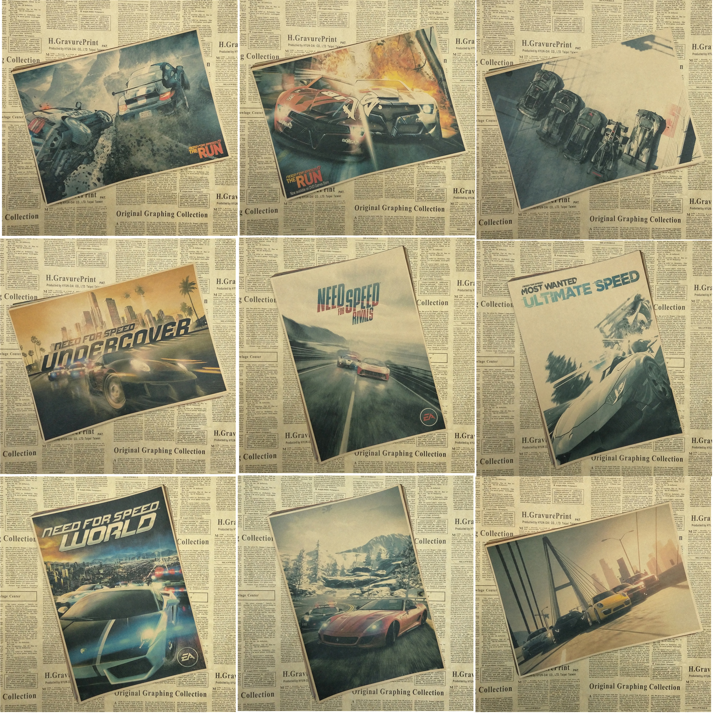 Need For Speed Game vintage poster car kraft paper home wall decor paingting wall sticker bar decor Children room decor