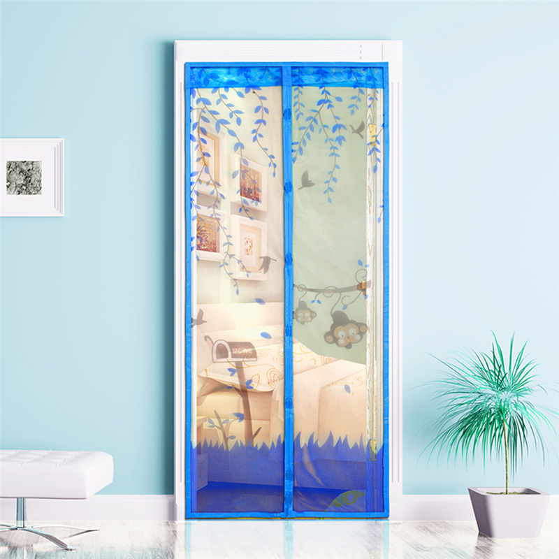 New Type 4 Color Curtains Monkey Anti Mosquito Magnetic Tulle Shower Curtain Automatic Closing Door Screen For Home Decoration