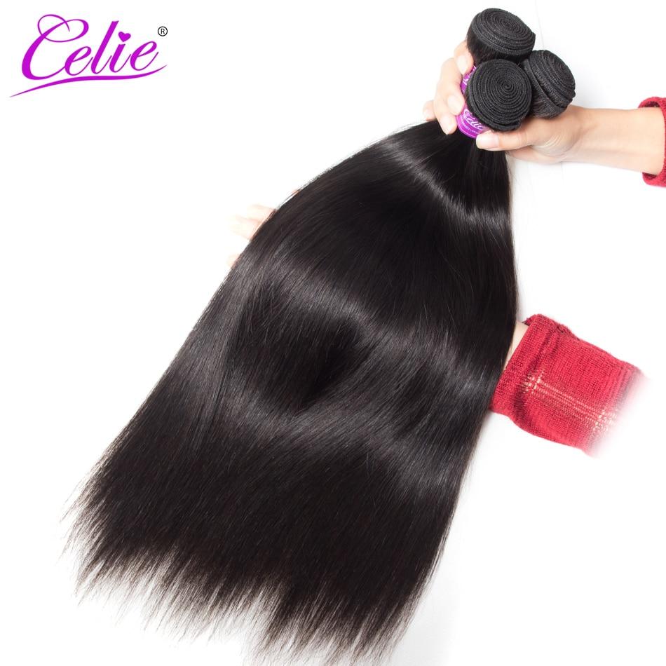 Celie Hair Malaysian Straight Hair 3 Bundles 100 Remy Human Hair Weave Bundle Natural Color Malaysian