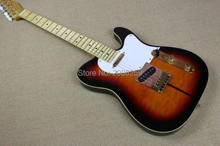 Magasin personnalisé solide tigre rayé érable bois guitare une pièce tele guitare tigre érable cou et corps corée matériel