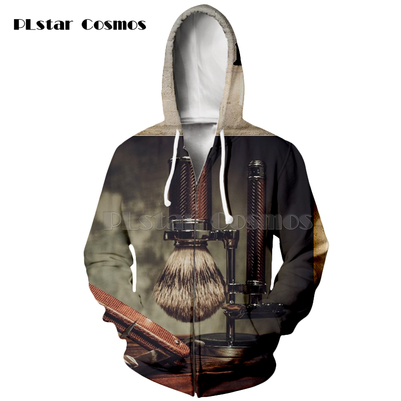 PLstar Cosmos brand Barber shop scissors classical style Hoodies man women zipper Hoodie drop shipping in Hoodies amp Sweatshirts from Men 39 s Clothing