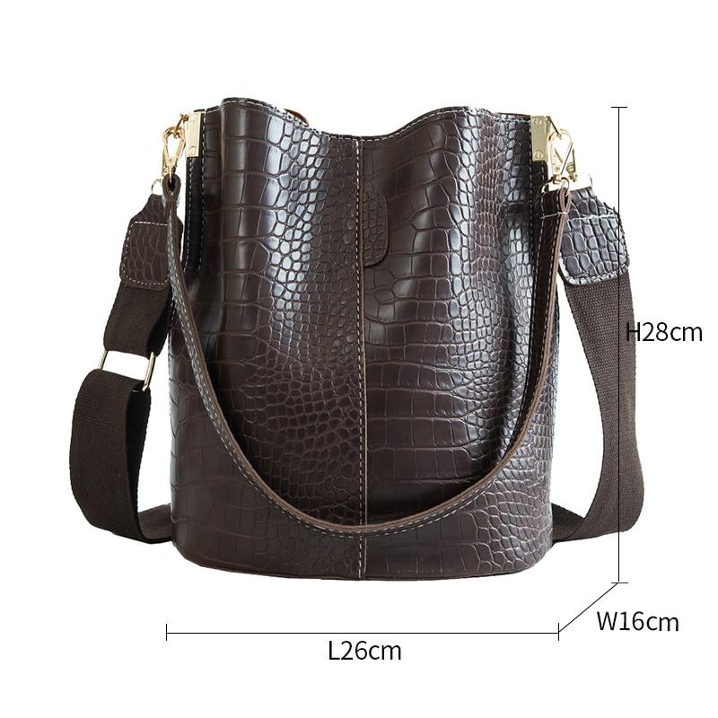 Image 4 - Casual y Alligator Bucket Bags Crocodile Women Handbag Wide Shoulder Strap Shoulder Messenger Bag Ladies Hand Bag Bolso femenino-in Shoulder Bags from Luggage & Bags