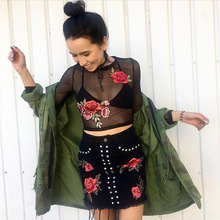 Sexy Rose Embroidered T-shirt Summer Female Black T-shirts for Women Harajuku Top Clothing Womens