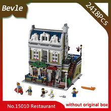 Bevle Store LEPIN 15010 2410Pcs street View series City Street Parisian Restaurant Model Building Blocks For Children Toys 10243