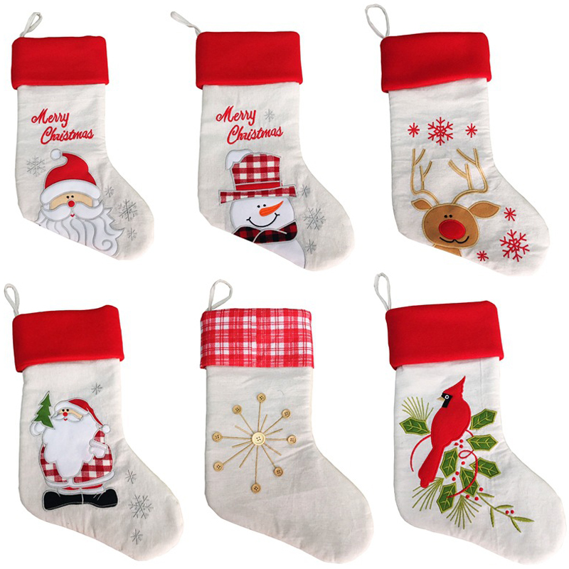 10 pcs lot 2017 New Christmas Decoration Linen Embroidery Christmas Socks Gift Bag Santa Claus Snowman Elk xmas sock kid gifts in Stockings Gift Holders from Home Garden