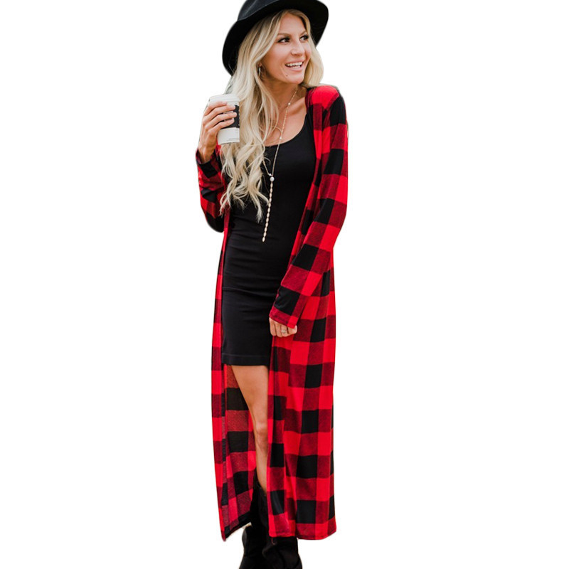 Rogi Outerwear Long-Cardigan Color-Block Patchwork Long-Sleeve Plaid Autumn Casual Women