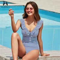 PLAVKY 2019 Sexy mujer Retro cuello en V azul rayado traje de baño una pieza con volantes Push Up acolchado de cintura alta traje de baño para mujer monokini