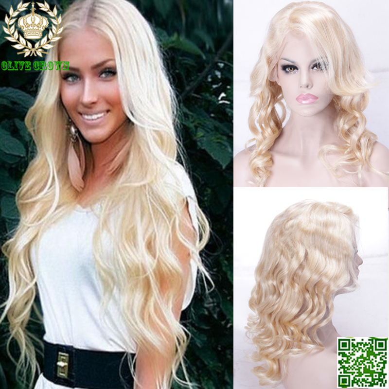 Long Wavy Color 60  Full Lace Blonde Wig Malaysian Human Hair Top Quality  7A Platinum Blonde Lace Front Wigs With Baby Hair b030a47c4bb2