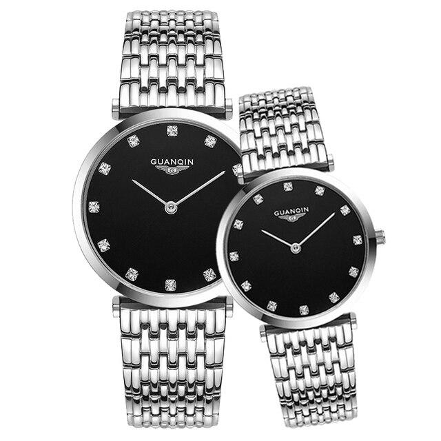 GUANQIN Fashion Couple Watch Set Diamond Luxury Quartz Watch Mens Women Wristwatch lovers Watch Clock Man relogio masculino