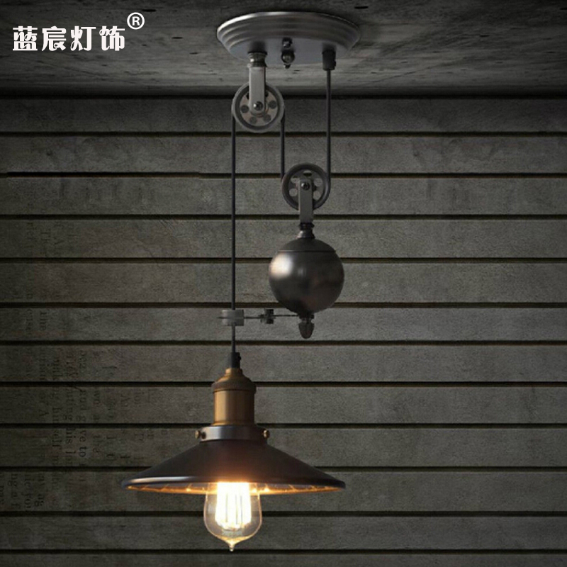 loft Lifting pulley pendant light American retro industrial wind personality dining room bedroom lamp single head iron lamploft Lifting pulley pendant light American retro industrial wind personality dining room bedroom lamp single head iron lamp