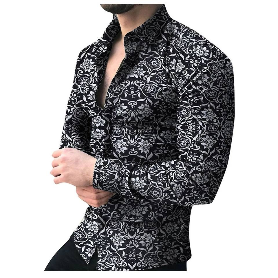 New Men Fashion Casual Long Sleeved Printed Shirt Slim Fit Male Social Dress Shirt Brand Men Clothing Soft Comfortable Clothes