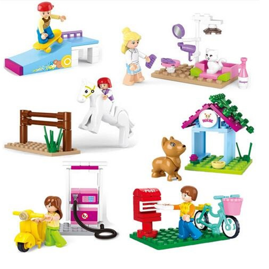 City Girl Friends Pet Grooming Gas Station Puppy Dog House Horse Racing Model Building Blocks Toys For Children Compatible Legoe