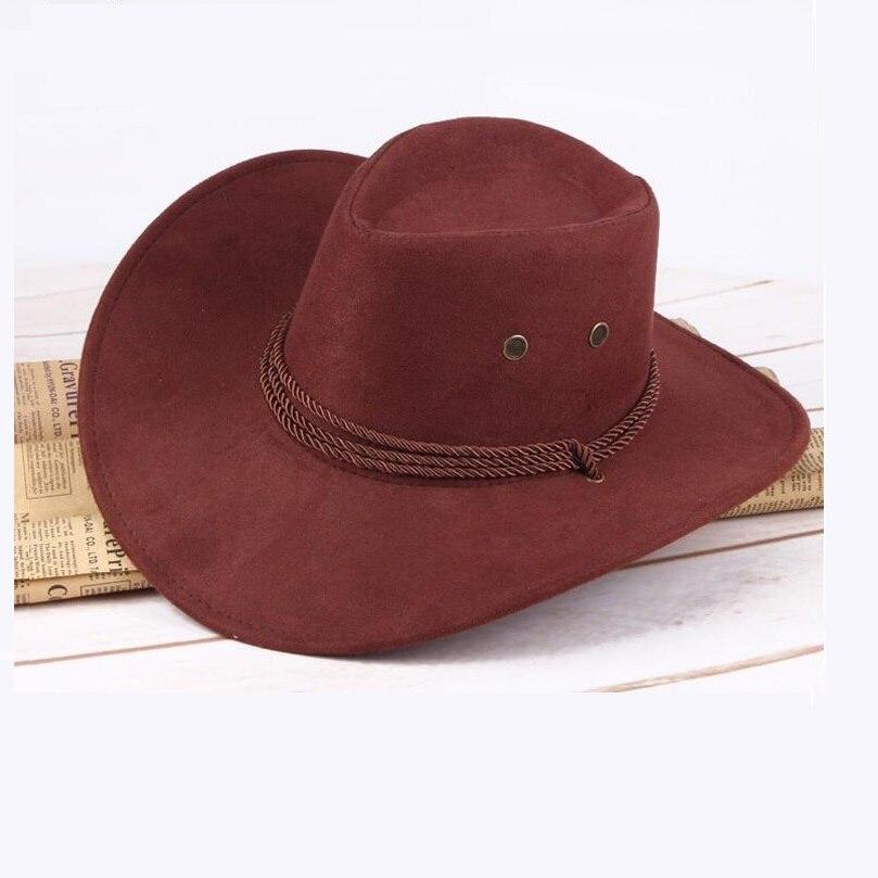 1157f73a 9 colores Sombrero de vaquero para hombres y mujeres Casual occidental  Vintage de cuero ancho ala fiesta Sombrero Hombre Cappello Uomo m0204 ...