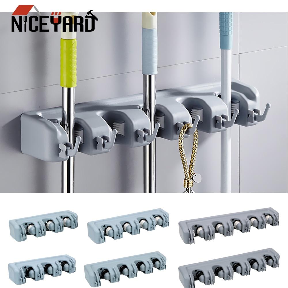 NICEYARD настенный многофункциональный держатель для метлы, волшебный пластиковый держатель для швабры, держатель для ванной и кухни, держател...
