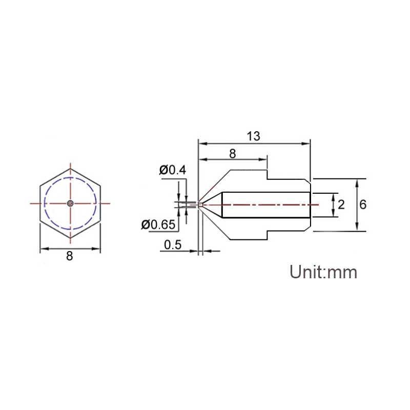 Anet 10 Uds MK8 3D impresora boquilla 0,2/0,3/0,4/0,5/0,6mm extrusor cabezal de impresión para Makerbot Ultimaker 3D impresora 1,75 MM