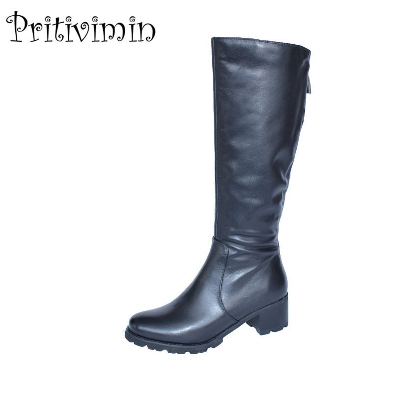 2018 New fashion girl heel plush lining long boots women winter botas mujer shoes Ladies cow leather botte femmes Pritivimin FN2