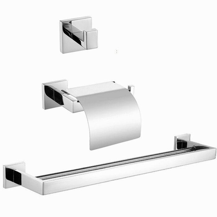 Free shipping Bath Set Robe Hook,paper Holder,double Towel Bar 3 Pcs/set 304 polish stainless steel SM21B-1  цены