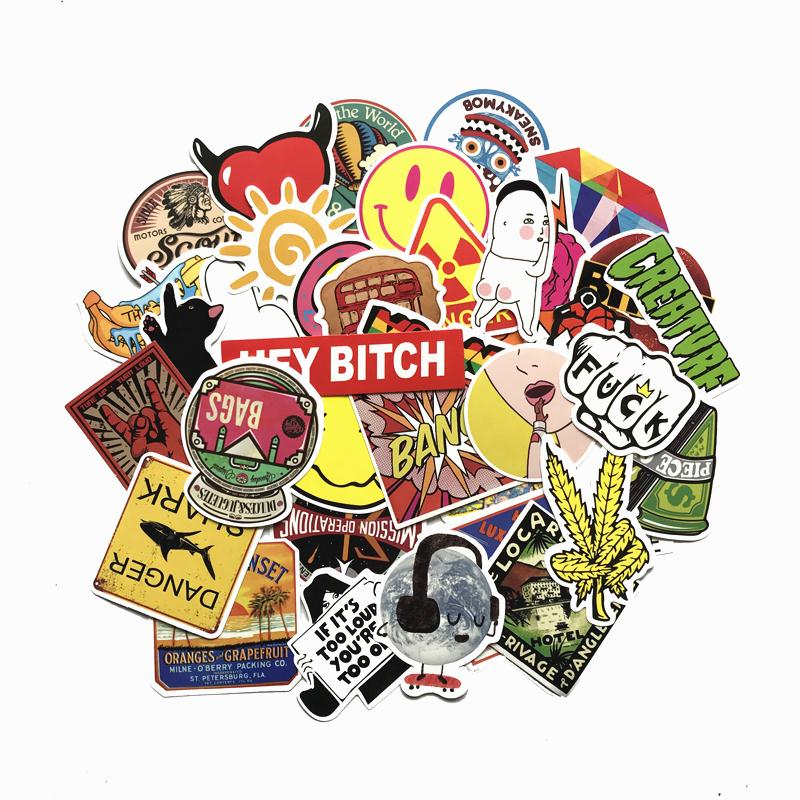 TD ZW 50Pcs/lot Random Mixed Funny Graffiti Stickers For Moto Car & Suitcase Cool Laptop Stickers Skateboard Sticker Pegatina