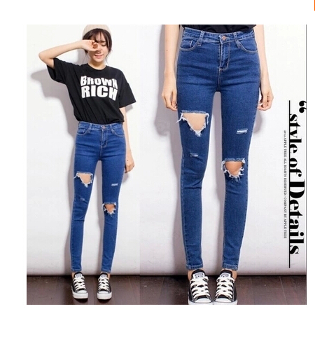 2017 High Waist plus Size Jeans Women Skinny Pencil Pants Denim Ripped Jeans With Holes Trousers For Woman plus size skinny high waist jeans