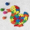 Поставки 26 письмо цифровой деревянные строительные cute duck головоломки разведки игрушки