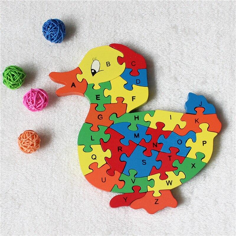 Supplies 26 letter digital wooden building cute duck puzzle intelligence font b toys b font