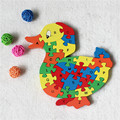 Supplies 26 letter digital wooden  building cute duck puzzle intelligence toys