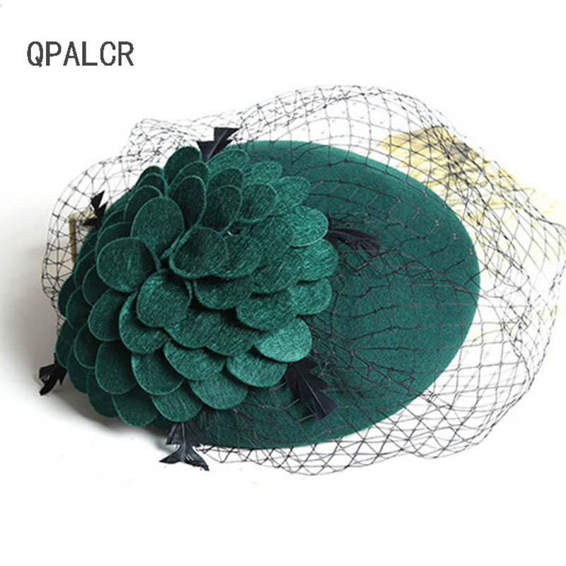 QPALCR High Quality Elegant Wool Felt Women Hat Veil Vintage Fedoras Mesh Wedding Party Church Hats Winter Banquet Female Berets
