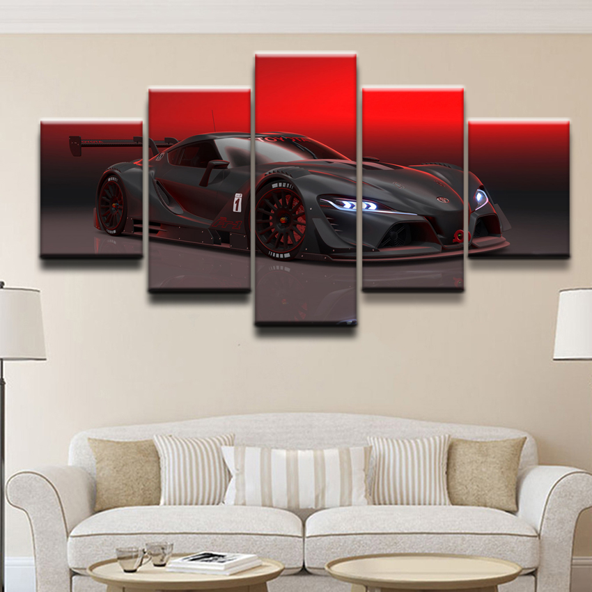 Wall Art Pictures Canvas Poster Printed Painting Framework Home Decor 5 Panel Red Black Sports Car HD Photo Decor Kids Room in Painting Calligraphy from Home Garden