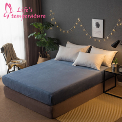 Thick Warm Plain Flannel Fitted Sheet Cover Soft Comfortable Pure Color Bedroom Home Supplies 180*200/200*230cm Sheet Cover