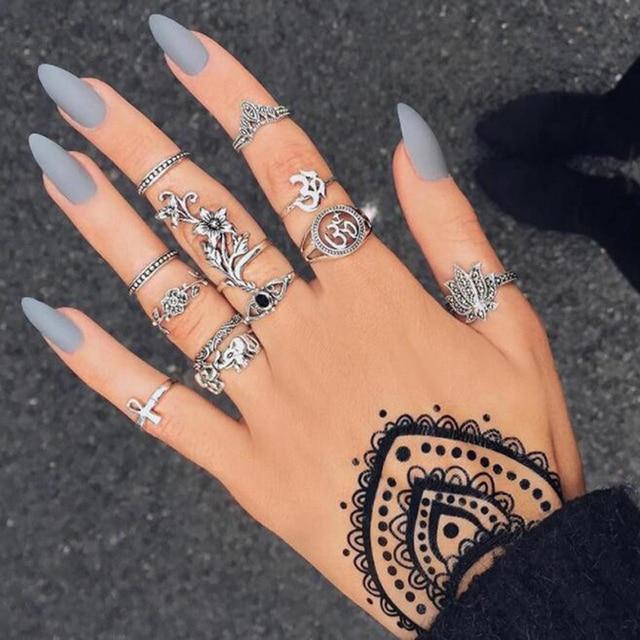 Docona moda czarny pierścień otwierający 3 sztuk/zestaw Midi Finger Knuckle zestaw pierścieni dla kobiet Punk Alloy Finger pierścionki biżuteria boho