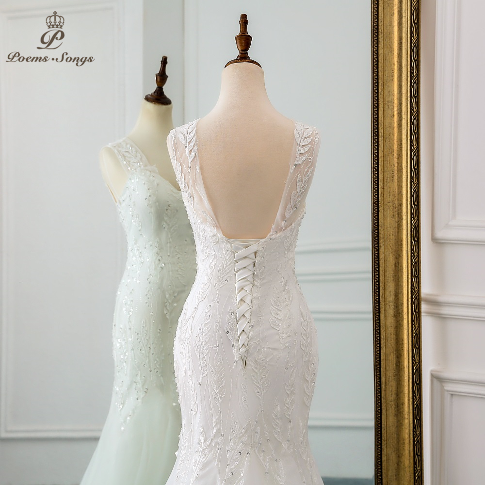 Image 5 - PoemsSongs 2019 new beautiful sequined lace wedding dress robe mariage  Vestido de noiva Mermaid wedding dresses robe de mariee-in Wedding Dresses from Weddings & Events