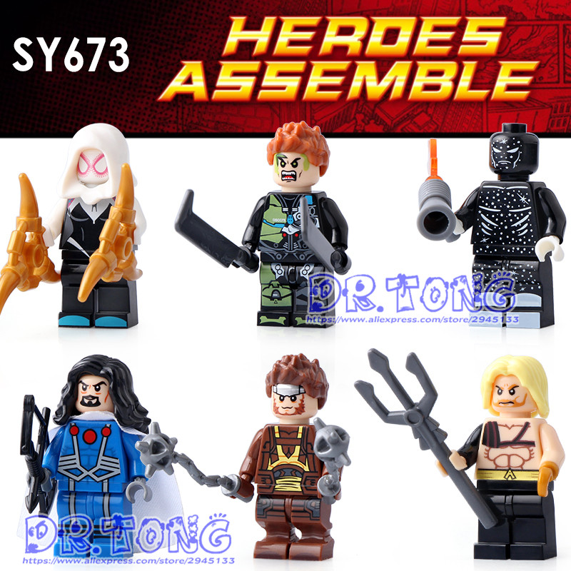 DR.TONG 10SET SY673 Aquaman Spider-Man Iron Man Thor Captain America Super Hero Figure Building Blocks Model Bricks Toys Gift lepin 05053 1788pcs star series genuine