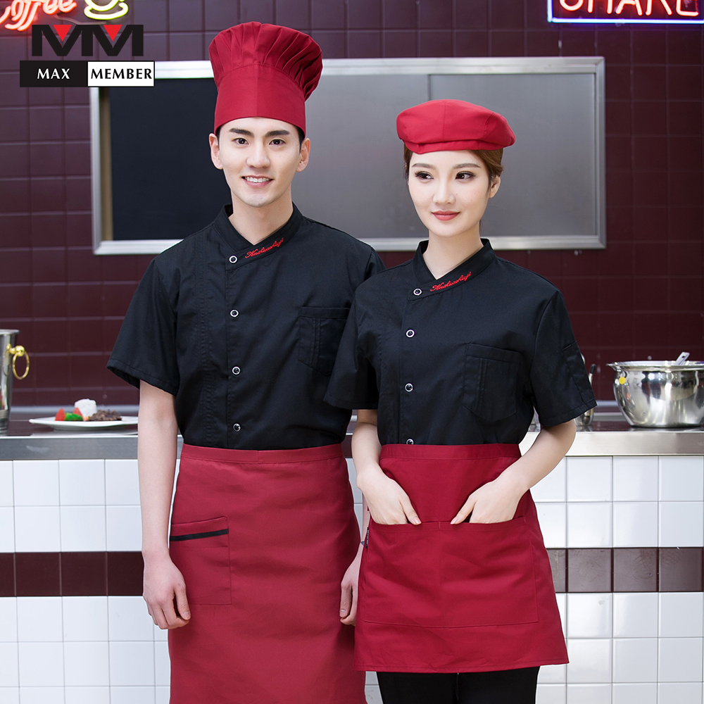 Embroidery Collar Single Breasted Kitchen Work Tops Short Sleeve Cozinha Restaurant Hotel Catering Chef Cooking Uniform Overalls