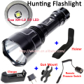 C8 (Hunting Set) 1-Mode(on/off) 1800 Lumen CREE XM-L2 U3 LED Flashlight Lamp Torch + 1PC Gun Mount/Charger/Holster/Remote Switch