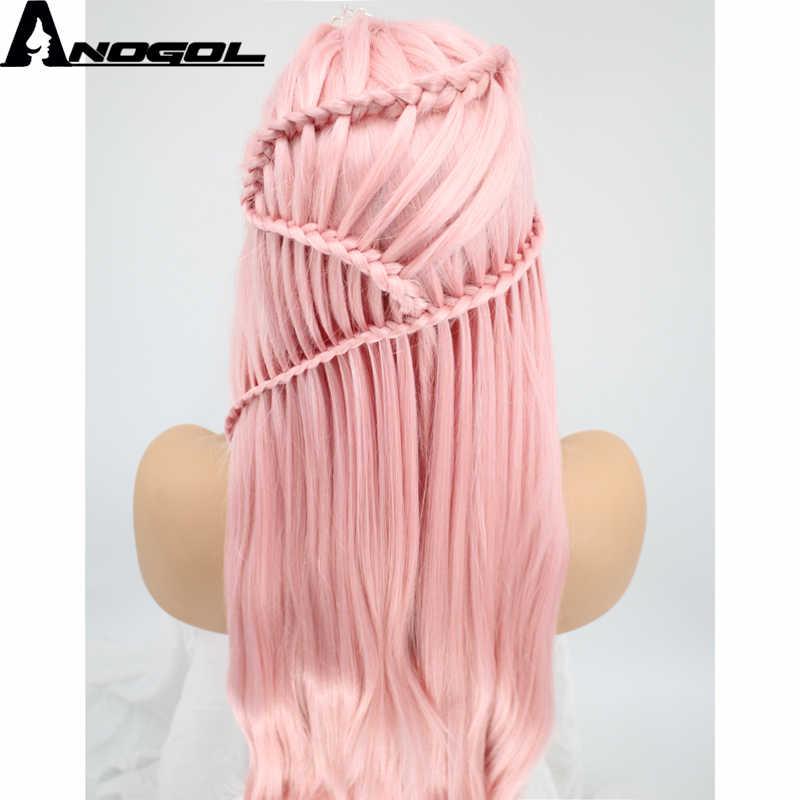Anogol Косы Средняя часть натуральный длинные прямые розовый плетеный синтетический синтетические волосы на кружеве парик для белы